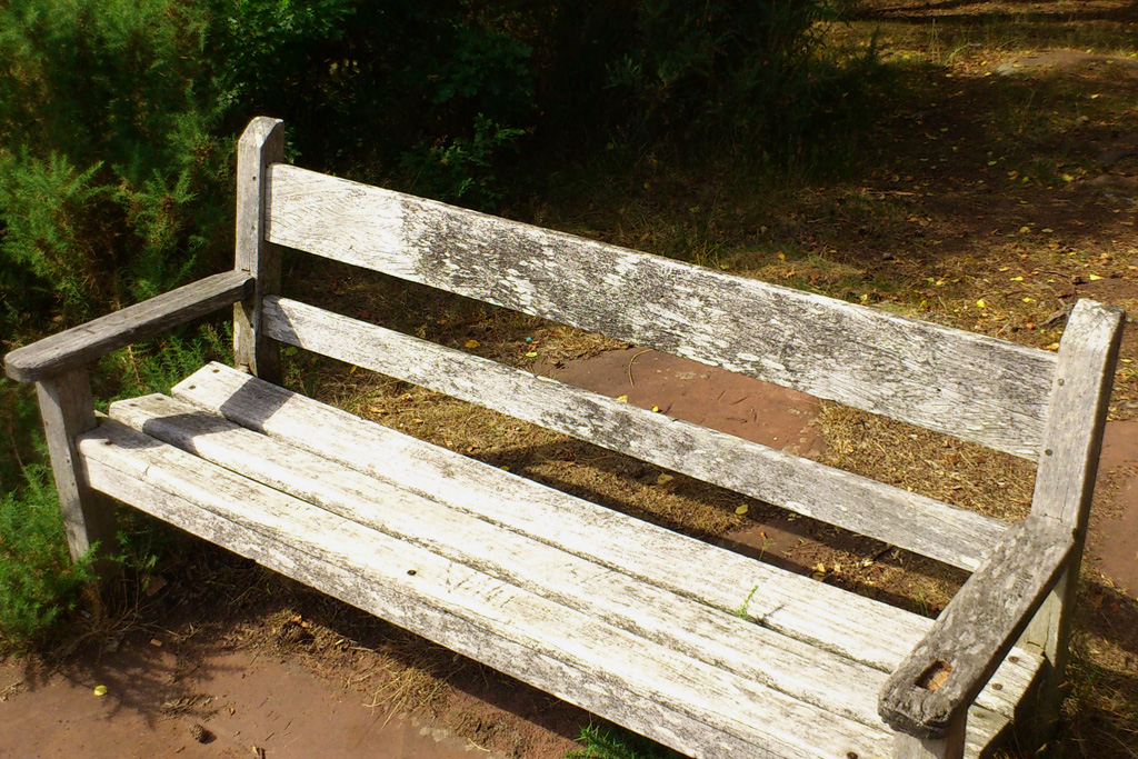 Image of Bench at 'The Pines' - Pulled out of its footings by vandals