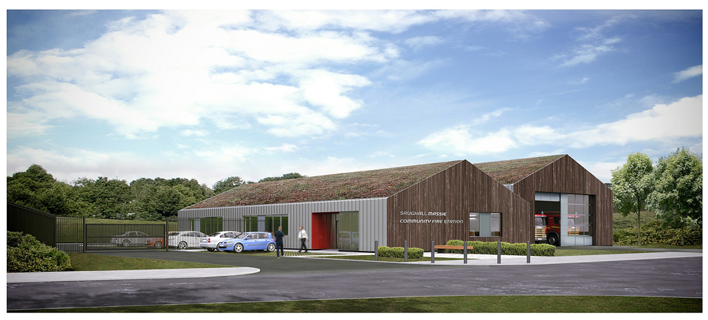 Street view visualisation of proposed 'Community Fire Station at Saughall Massie