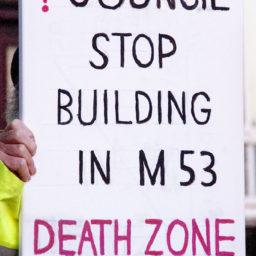 Protestor banner, Wallasey Town Hall demo, 25 Feb 2019