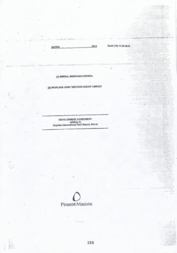 Cover of the Development Agreement for Hoylake Golf Resort