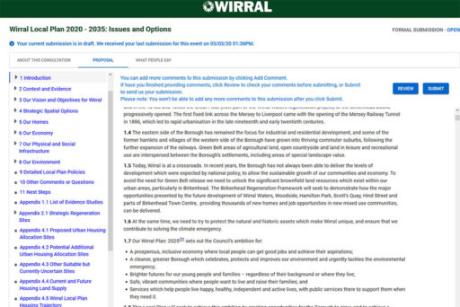 Wirral Council's online Local Plan consultaion portal