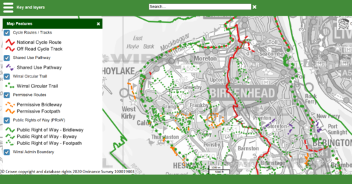 Screenshot of the web-page displaying Wirral Council's Rights of Way map